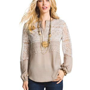 Chico's Textured Peasant Top Size 2 (12)